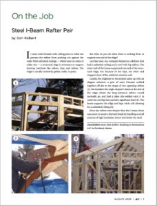 Steel I-Beam Rafter Pair Article in the Journal of Light Construction